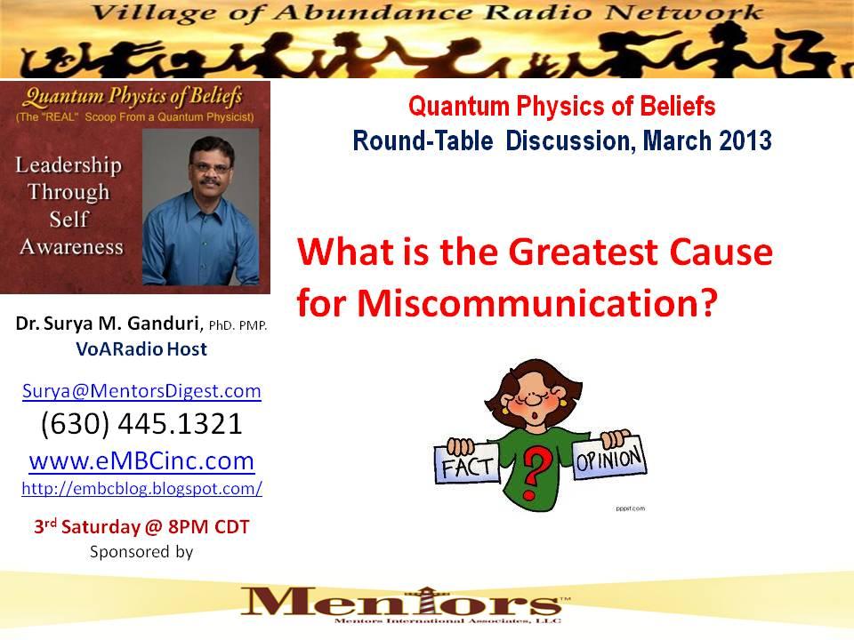 Mar 2013 - Miscommunications